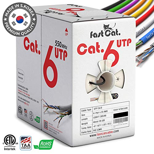 fast Cat. Cat6 Ethernet Cable 1000ft - Insulated Bare Copper Wire Internet Cable with Noise Reducing Cross Separator - 550MHZ / 10 Gigabit Speed UTP LAN Cable 1000 ft - CMR (Black)