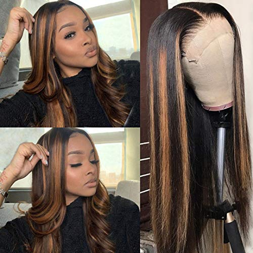 """24Inch Long Pre Plucked Human Hair Lace Front Wig Ombre Black Root with Brown Highlights Brazilian Silky Straight 13x1x4 T Part 150% Density Highlighted Lace Wigs Bleached Knots(#1BT1B/30,24"""")"""
