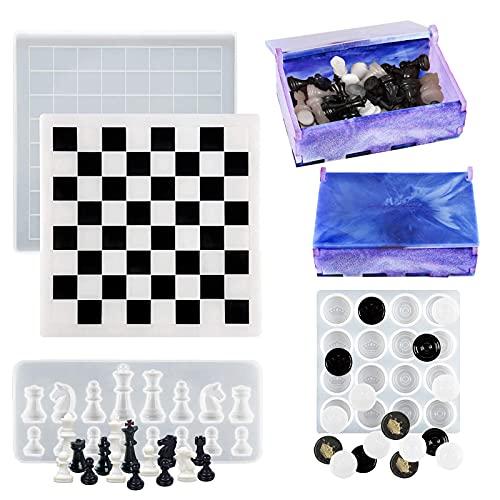 Sfit - Molde de ajedrez de silicona, resina epoxy, herramientas de resina de ajedrez con caja de almacenamiento, molde de resina de decoración para joyas, bricolaje, artesanía (molde de ajedores)