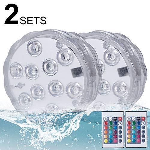Lumiere Piscine, Kolpop Lumière submersible de RGB LED Multicouleur avec Télécommande, IP68 Imperméable à l'eau pour La piscine/étang/Aquarium/Vase et Salle de Bains
