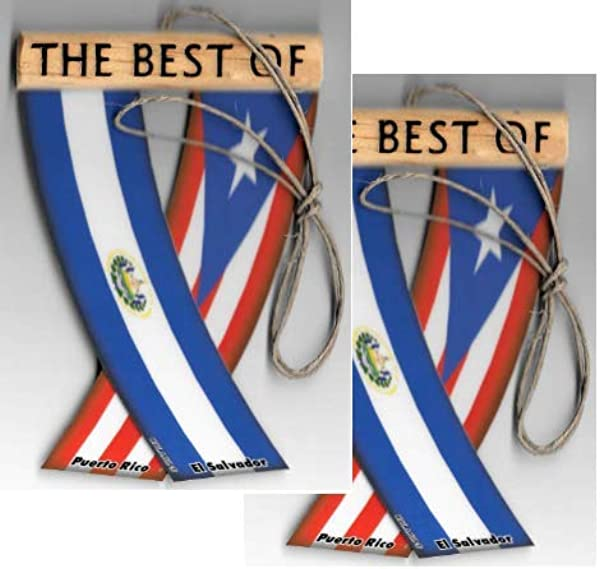 UNITY FLAGZ Puerto RICO And EL Salvador SALVARICAN Boricua Salvadorian Caribbean South American Rearview Mirror Mini Banner Hanging Flags For The CAR Two Sets
