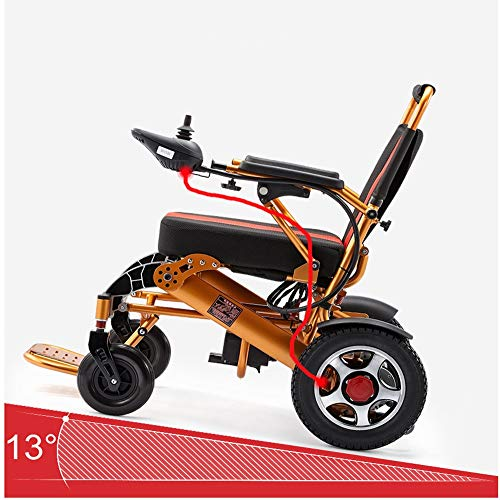 QBYLYF Metallic Rollator Diamond Deluxe Falten Faltbarer Leistung Compact Mobility Aid Rollstuhl, Leichtklapp Elektro-Rollstuhl, Motorisierte Rollstuhl, Leistungsstarke Dual-Motor Rollstuhl Carry