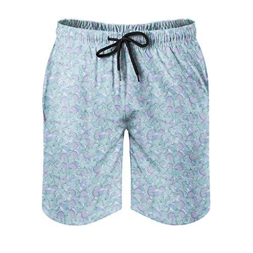 Dessionop Pantalones cortos de playa para hombre, sin costuras, diseño vintage, con forro de bolsillo, fantasía, color blanco