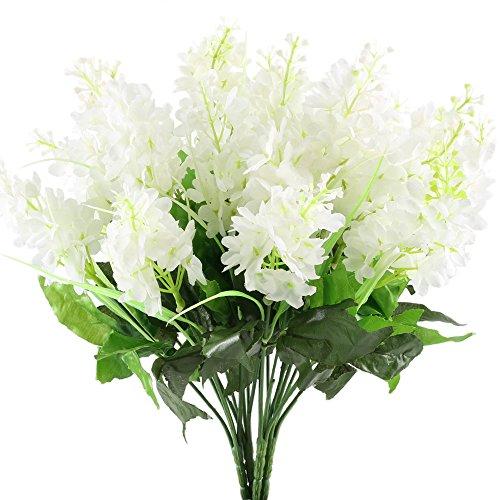 NAHUAA 4pcs Künstliche Blumen Weiß Hyazinthen Kunststoffblumen Deko Balkon Blumen Kunstpflanzen Hortensie Blumen für Vase Balkon Garten Braut Hochzeit Innen Außenbereich Dekoration