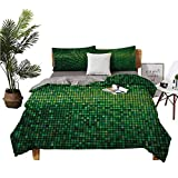 DRAGON VINES 4pcs Bedding Set Home Textile Series Bedding Queen Sheets Abstract Lights Square Pixel Mosaic Design Geometric Technology Theme Digital Grid Print Green Man and Woman W80 xL90