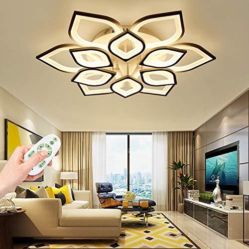 Deckenleuchte LED Dimmbare Wohnzimmerlampe Moderne Mit Fernbedienung 3000K-6000K Deckenlampe Kreative Blume Design Kronleuchter Schlafzimmerlampe Esszimmerlampe Büro Küchelampe,6+6 heads 85cm 75w