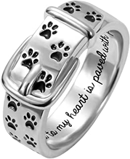 Pet Lover Dog Paw Print Collar Remembrance Ring 925 Sterling Sliver Engraved Rings Dog Love Ring