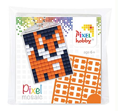 Pracht Creatives Hobby P23001 - Pixel Set Medaillon Fuchs, Schlüsselring, Anhänger, für Kinder, Jungen und Mädchen, ideal als kleines Geschenk, Mitgebsel, für den Kindergeburtstag