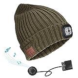 Powcan Bluetooth Beanie cap con Faro LED USB Ricaricabile Senza Fili Musicale Unisex per Correre Sci Escursionismo Campeggio Ciclismo