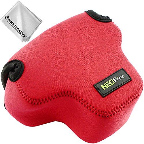 Custodia per Fotocamera SLR con Protezione in Neoprene borsa Compatibile con Olympus OM-D EM10 Mark III EM10 Mark II EM10 14-42mm II R / 14-42mm F3.5-5.6 II / 25mm F1.8 / 45mm F1.8 Rosso