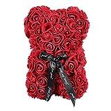 LIOOBO Rose Ourson Ours Artificielle Toujours Cadeau Anniversaire Anniversaire Cadeau Saint Valentin - (25cm) (Rouge)