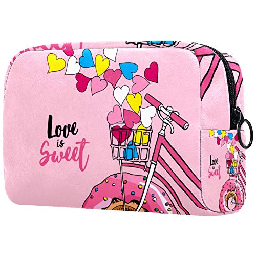 Cosmetic Bag Womens Waterproof Makeup Bag for Travel to Carry Cosmetics Change Keys etc Bike with A Pink Donut Wheel