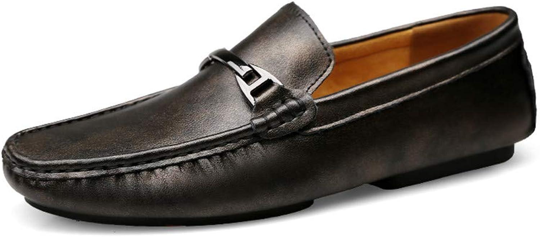 Bequem Weiche Lederschuhe Slip On Weiche Schuhe Flache Schuhe Freizeitschuhe, Freizeitschuhe Herren Stiefelschuhe Langlebig (Farbe   Schwarz, Größe   45 EU)