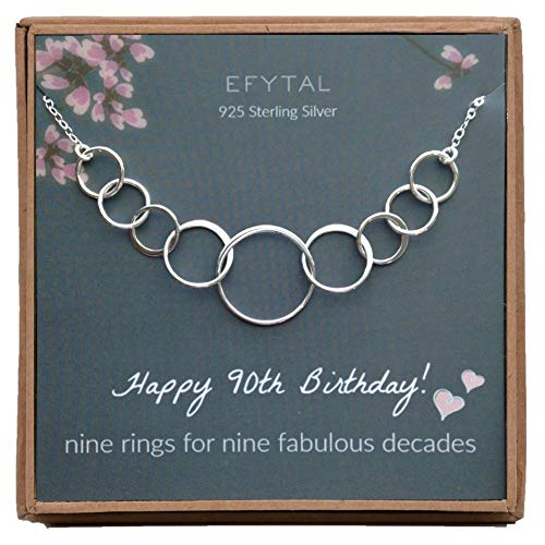 9 Rings for 9 Decades Sterling Silver Necklace