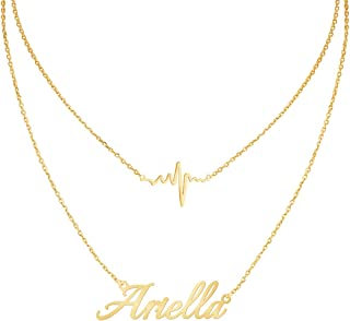 Custom Name Necklace Personalized,Heart Pendant Layered Customized Nameplate Necklace Birthday Gift for Girlfriend 14
