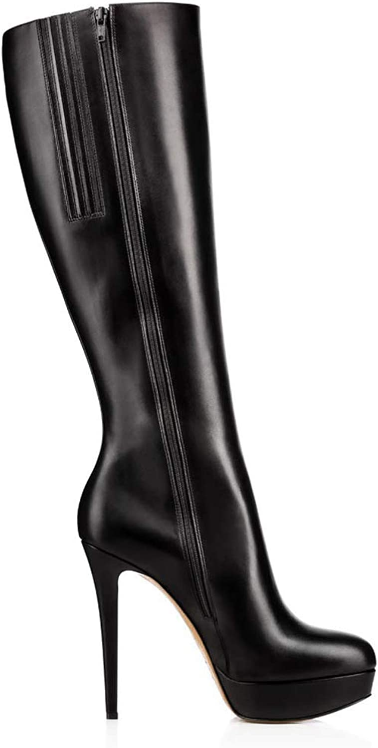 GONGFF Ladies Black PU Boots Stiletto Pointed Zipper Boots
