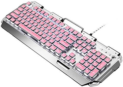 Teclado para juegos Elegante teclado portátil linda rosa real mecánica Verde Eje Juego Notebook Mechanical Desktop teclado for juegos de ordenador Red Net Gaming chica impermeable Teclado para juegos