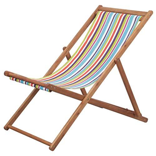 Cikonielf Tumbona de jardín plegable de madera maciza de teca, para la playa y el camping, multicolor