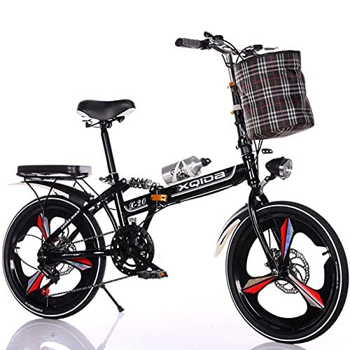 Bicicleta Plegable de Aluminio Ligero de 20 Pulgadas Bicicleta Plegable Hombres-Mujeres Bicicletas Plegables de 6 Engranajes Bicicleta de Ciudad Sistema de Plegado rápido Black