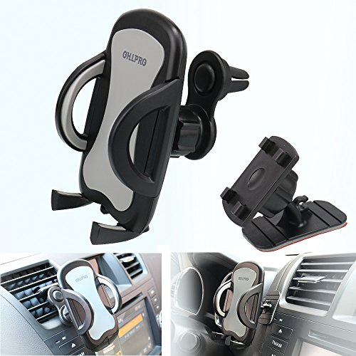 """Car Phone Mount,OHLPRO 2-in-1 Phone Holder Car Air Vent Universal Stick on Dash Dashboard Mount 360°Rotating Adjustable for iPhone Samsung Sony Google All 4""""- 6.4"""" Smartphones"""