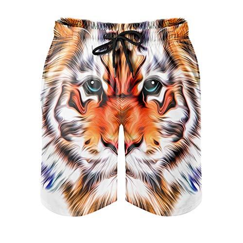 Dessionop Pantalones cortos de playa para hombre, diseño psicodélico de cabeza de tigre, con forro de bolsillo, Trendy White 6XL