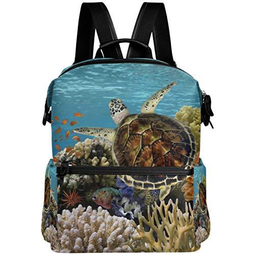 Oarencol Sea Turtle Blue Ocean Mochila para niños bajo el agua Animal Fish School Book Bag Viaje Senderismo Camping Portátil Daypack