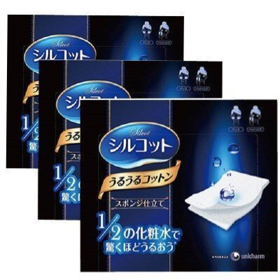Unicharm Silcot Uruuru Sponge Facial Cotton 40 Sheets 3 Packs (3) by Unicharm