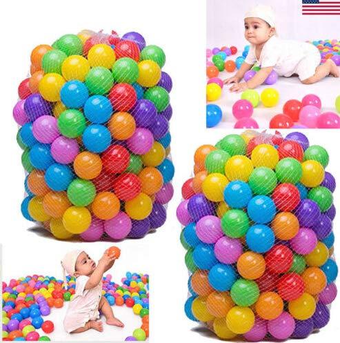 FunPa Palline Bambini, 200Pcs Palline Colorate Palline di plastica Gioco per Bambini Prima Infanzia per riempire Piscine Tende Piscina (200Pcs)