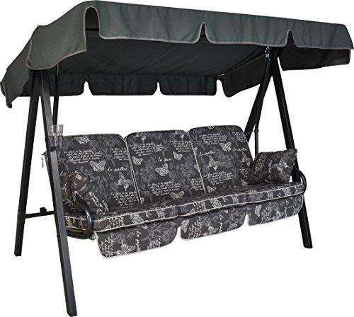 Angerer Select Hollywoodschaukel 3-Sitzer Design Schmetterling, grau, 210 x 145 x 160 cm, 6000/205/15
