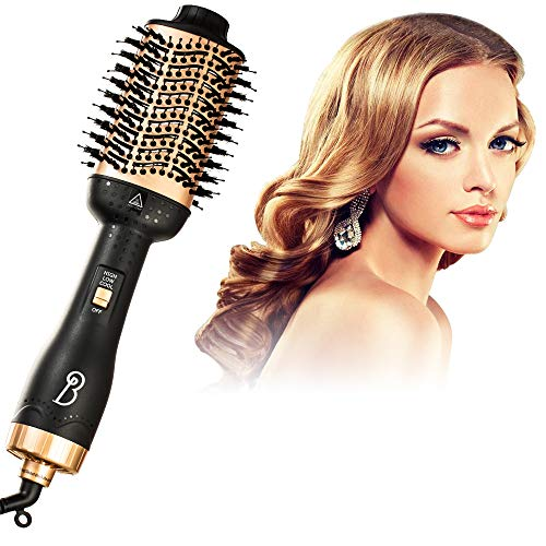 Hair Dryer Brush 4 in 1 One Step Volumizer Household Hair Curler Powerful Hair Massage Comb Salon Anti-scald Hair Straightener Comb for Wet Hair and Dry Hair Negative Ions Safe Hot Air Brush Comb