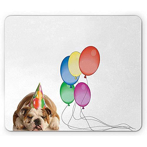Bulldog muismat Illustratie van een hondje slapen met een verjaardag hoed en kleurrijke ballonnen anti-slip rubber muismat wit