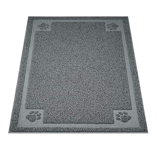 """UPSKY Large Cat Litter Mat Trapper 35.5""""×23.5"""" Traps Litter from Box and Paws Scatter Control for Litter Box Soft on Sensitive Kitty Paws Easy to Clean Durable (Grey)"""