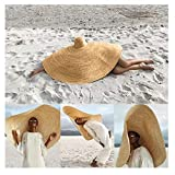 Wenini 2019 Hottest Womens Fashion Huge Sun Hat, Novelty Unisex Summer Large Sun Hat Beach Anti-UV Sun Protection Foldable Straw Cap Cover, Suitable for Most (Khaki, Free Size - 35.4inch Diameter)