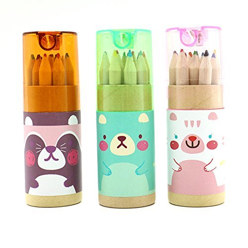 Pomeat 3 Pack Cute Cartoon Bear Mini Drawing Colored Pencils with Sharpener, 3.5' Length, Portable, 12 Count in Tube
