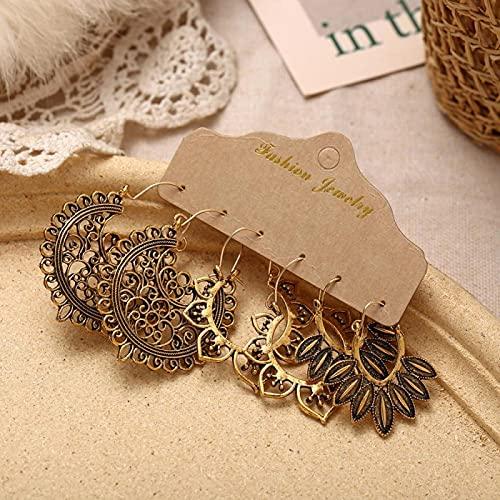 FEARRIN Vintage Earrings Antique Bohemian Style Vintage Green Stone Earrings Set for Women Ethnic Tassel Moon Dangle Earrings Jewelry Gifts CS51726