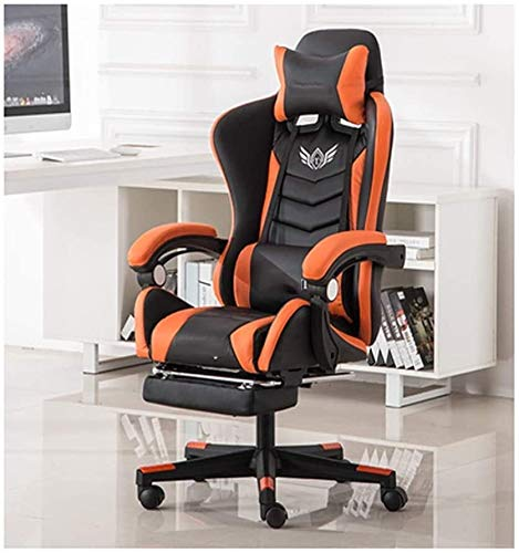 Rollsnownow Massage-Computer Gaming Chair High Back PU-Leder PC Rennsport Computer-Schreibtisch Bürodreh Lehnstuhl mit ausziehbarem Fußstütze und Verstellbarer Lendenwirbelstütze Sessel