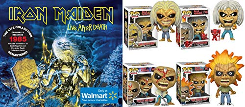 Show Your Iron Maiden Pride by Getting Their Immortal Mascot + First Live Album: Funko Pop! Bundle of 4 + Live After Death 2CD, 1:24 Scale Eddie Figurine Collector's Patch