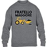 Shirtgeil Idea Regalo Fratello Maggiore Tractor Maglione per Bambini e Ragazzi 7-8 Anni (122-128cm) Grigio