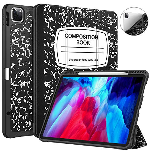 """CaseBot SlimShell Case for iPad Pro 12.9"""" 4th & 3rd Generation 2020/2018 with Pencil Holder - Smart Stand Soft TPU Back Cover, Support Pencil 2nd Gen Charging & Auto Wake/Sleep, Composition Book"""