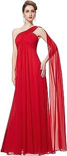 Vestidos de Fiesta Gasa Un Hombro Corte Imperio Plisado sin Mangas para Mujer 09816