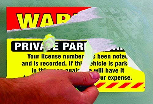 """Private Parking Stickers (Pack of 50) Reserved No Permit Area Violation Warning Notice Vehicle is Illegally Parked - Large Size 6"""" X 9"""" – Yellow Photo #4"""