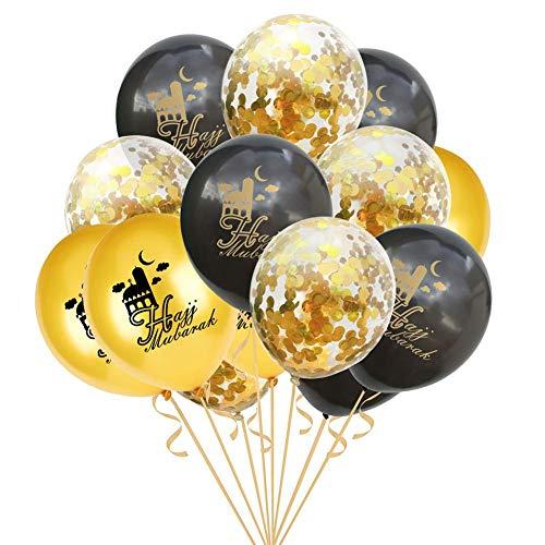 "16/"" Hajj Moubarak Umra MUBARAK BALLONS Or Rose Argent Confettis baloons..."