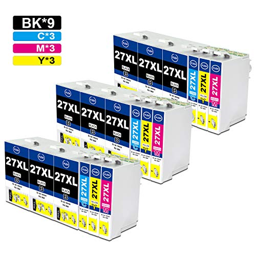 Jagute 27XL Patronen Ersatz für Epson 27 XL Druckerpatronen Kompatibel mit Epson Workforce WF-3620 WF-7720 WF-3640 WF-7715 WF-7710 WF-7620 WF-7610 WF-7210 WF-7110 (9 Schwarz, 3 Blau, 3 Rot, 3 Gelb)