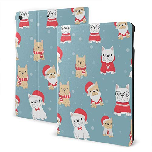 French Bulldog Frenchie Christmas Case for iPad 8th Generation 2020 iPad 7th Gen 2019 Shockproof Slim Protective Cover Auto Sleep Wake