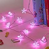 Lights4fun, guirnalda luminosa de LED, 30luces estáticas en forma de estrella, funciona a batería