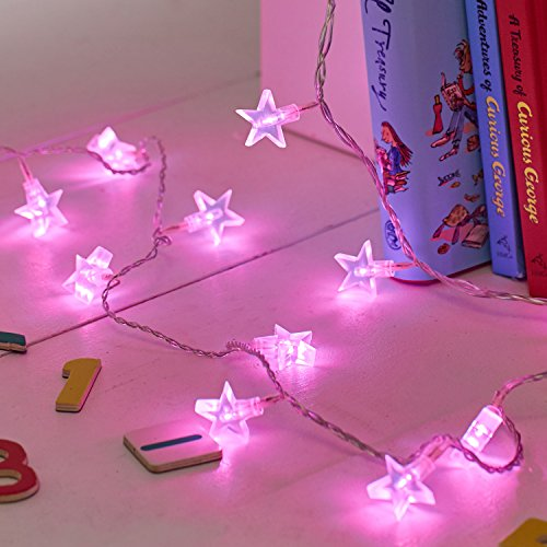 Lights4fun 30er LED Lichterkette Sterne warmweiß