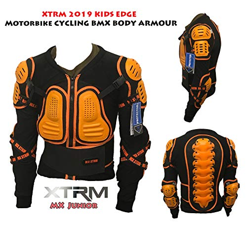 XTRM Edge Armatura Moto Bambini Protezione di Motocross Giacca off-Road Indumenti di Protezione Quad Pit Bike Sportivo Bambino Spina dorsali Protettori per Torace (Arancio,12)