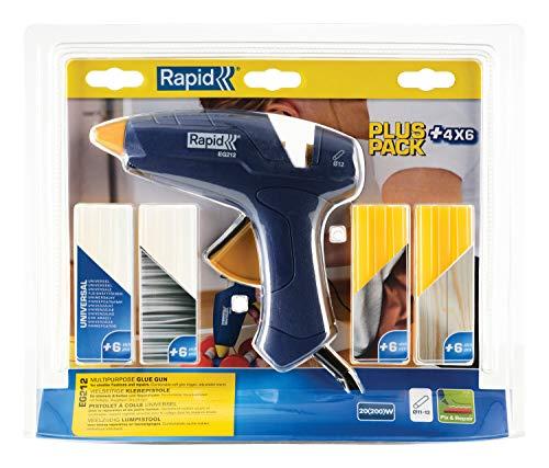 Rapid Heiβklebepistole EG212, 12mm Klebepistole für Fixieren und Reparieren, Set inkl. 24 Klebesticks - 4 Sorten Kleber