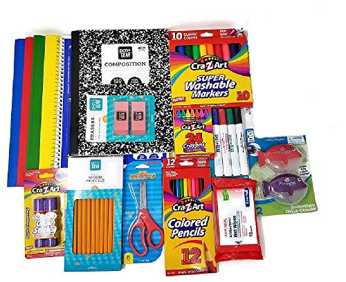 School Supplies Bundle for Pre-K to 3rd Grade with Dry Erase Markers, Paper Prong Folders, Wet Wipes, Notebooks, Crayons, Pencils, Sharpeners, Glue Sticks, Scissors (16 Items)