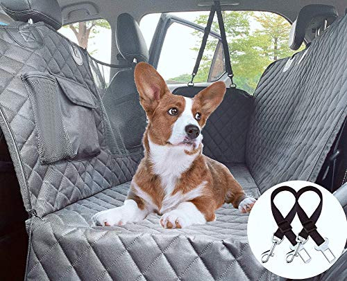 Cadosoigh Funda Perros Coche, Funda de Asiento para Perros Impermeable y Resistente, Protector Coche Perros con Rejilla Flexible Pasar Aire, Universal para SUV, Camión, Transportar y Viaje